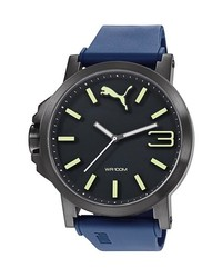 Puma Ultrasize Recycled Rubber Strap Watch 50mm Navy