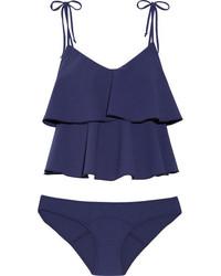 Lisa Marie Fernandez Imaan Ruffled Stretch Crepe Bikini Blue
