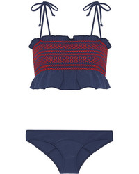 Lisa Marie Fernandez Selena Ruffle Trimmed Smocked Stretch Crepe Bandeau Bikini Blue