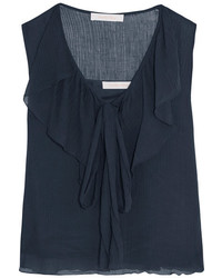 See by Chloe See By Chlo Ruffled Crinkled Cotton Gauze Top Midnight Blue
