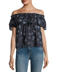 Current/Elliott The Ruffle Floral Print Top