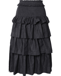 See by Chloe Tiered Denim Midi Skirt