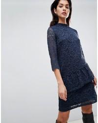 Vila High Neck Lace Midi Dress With Asymmetric Ruffle In Navy