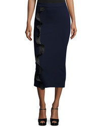 Opening Ceremony Stretch Ruffle Trim Midi Skirt Ink