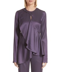 Sies Marjan Jlyn Ruffle Panel Satin Twill Blouse