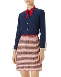 Gucci Ruffle Silk Tie Neck Blouse