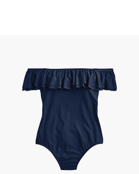 J.Crew Off The Shoulder Ruffle One Piece Swimsuit