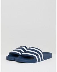 buy popular 3b8e3 40d7a adidas Originals Adilette Sliders In Navy 288022