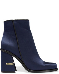 Navy Satin Ankle Boots