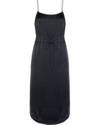 DKNY Gathered Satin Slip Dress Navy