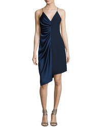 Halston Heritage Sleeveless V Neck Satin Slip Dress