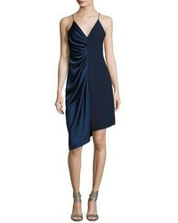 Halston Heritage Sleeveless V Neck Satin Slip Dress