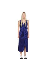 Marina Moscone Blue V Neck Twisted Dress