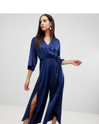942984082f2e Asos Tall Asos Design Tall Jumpsuit With Wrap Front And Hanky Hem In Satin