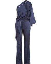 One shoulder tie front satin jumpsuit midnight blue medium 4393722