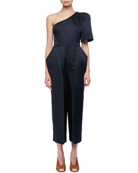 Satin one shoulder cropped jumpsuit medium 4983489