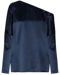 Asymmetric silk satin blouse navy medium 5023499