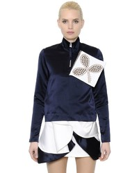 J.W.Anderson Embellished Zip Up Silk Satin Blouse