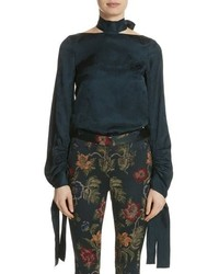 Rosetta Getty Floral Jacquard Halter Neck Blouse