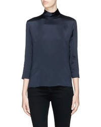 Vince Mock Neck Silk Satin Blouse