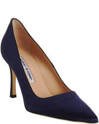 Navy Satin Pumps