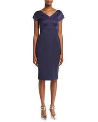 Escada Eve Satin Bodice Sheath Dress Deep Sea