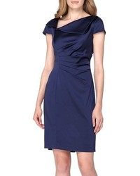 Tahari Ruched Satin Sheath Dress
