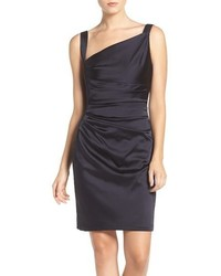 Vera Wang Asymmetrical Satin Sheath Dress
