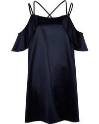 River Island Navy Satin Frill Cold Shoulder Dress