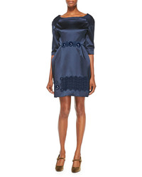 Cabochon embroidered duchesse satin dress navy medium 289243