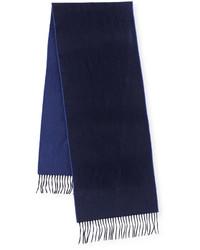 Begg co reversible cashmere scarf wfringe navyblue jay medium 387405