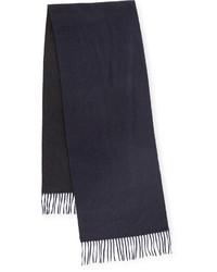 Begg co reversible cashmere scarf wfringe navycharcoal medium 387388