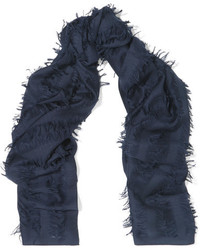 Chloé Fringed Wool And Silk Blend Scarf Navy