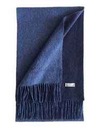 James Cavolini Italy Cashmere Wool Double Sided Royal Blue Navy Scarf
