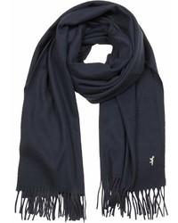MAISON KITSUNÉ Maison Kitsun Navy Blue Fringed Wool Scarf
