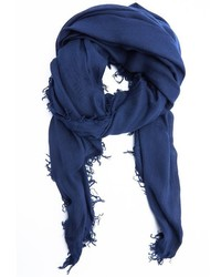 Burberry Navy Modal And Wool Blend Festival Raw Edge Scarf