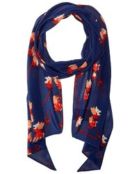 Vince Camuto Painted Flower Skinny Bias Scarf Scarves