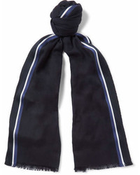 Loro Piana Striped Silk Cashmere And Cotton Blend Scarf