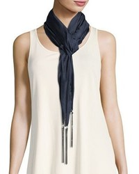 Eileen Fisher Whisper Silk Chain Scarf Midnight