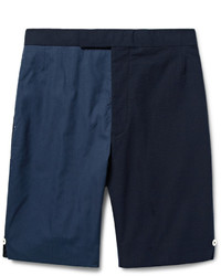 Thom Browne Slim Fit Two Tone Textured Cotton And Seersucker Shorts