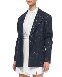 No.21 Oversized Lace Blazer Jacket Navy