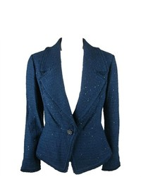 St. John Couture Sequin Knit Fringe 1 Button Blazer