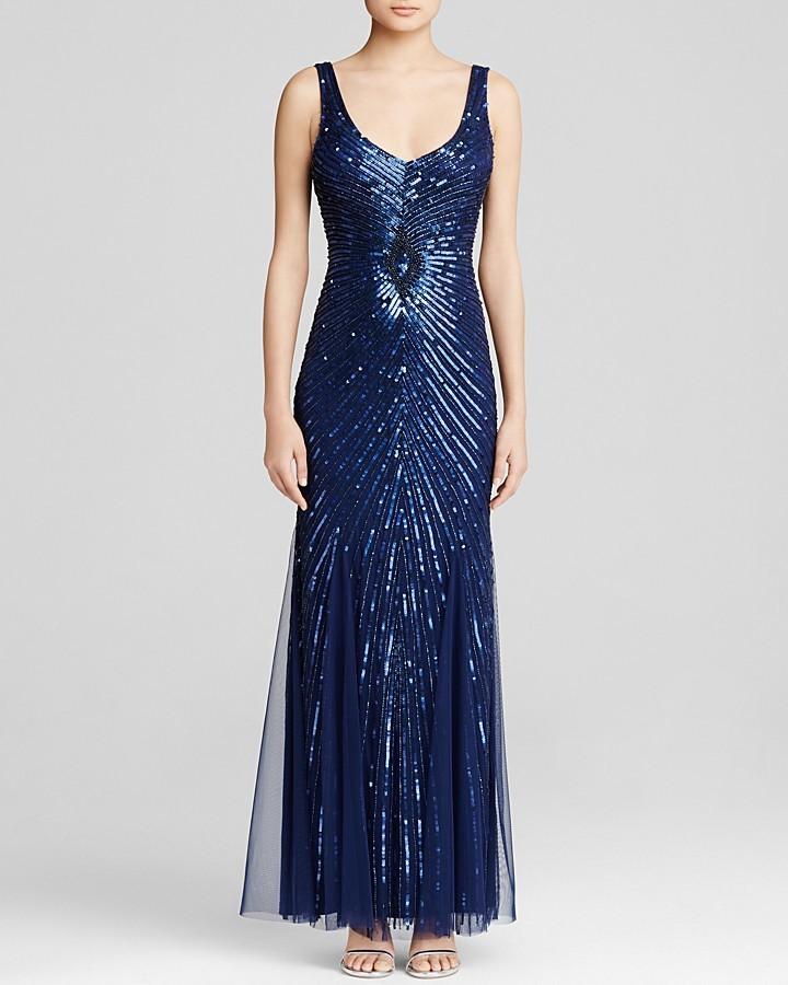 Aidan Mattox Gown Sleeveless V Neck Starburst Beaded Godet | Where ...