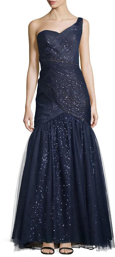 Monique Lhuillier ML Monique Lhuillier One-Shoulder Gown with Tulle ...