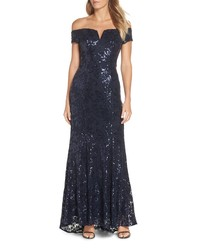 Vince Camuto Off The Shoulder Sequin Gown