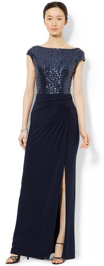 Lauren Ralph Lauren Sequined Boat Neck Dress | Where to buy & how to ...