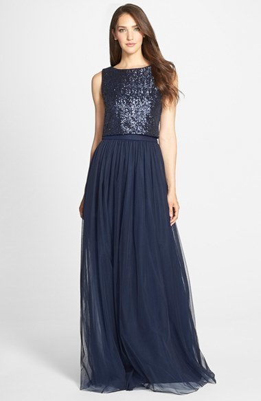 Vera Wang Vera Wang Sequin Bodice Mesh Gown Where To Buy How To Wear