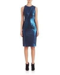 Akris Zip Detail Sequin Sheath Dress