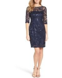 Tahari Petite Sequin Illusion Sheath Dress