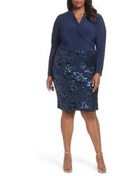 Marina Plus Size Sequin Faux Wrap Sheath Dress